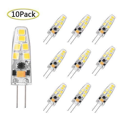 G4 LED Bulb Dimmable 3 Watt Equivalent to G4 Halogen Bulb 20W, T3 JC Type Bi-Pin G4 Base, AC/DC 12Volt, Daylight White 6000K G4 Light Bulb (10 Pack) ()