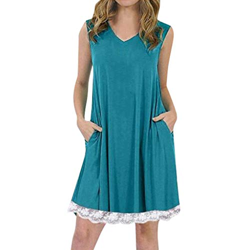Tantisy ♣↭♣ Women's Summer Sleeveless Casual Loose Swing T-Shirt Dress with Pockets Pleated Lace Hem Design/S-5XL Blue -