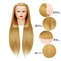 Cosmetology Mannequin Head Hair Styling 20inches Training Head Synthetic Fiber Manikin Head Doll Head with Clamp