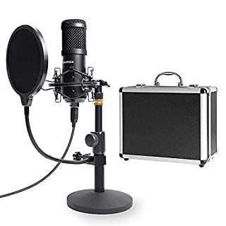 USB Streaming Podcast PC Microphone with Aluminum Storage Case,SUDOTACK Professional 192kHz/24Bit Studio Cardioid Condenser Mic Kit with Sound Card Desktop Stand Shock Mount for Skype Youtuber Gaming