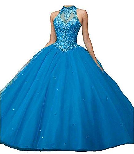 Aurora Longues Robes De Bal Des Filles De Mariée Les Appliques Robe De Robes De Bal Quinceanera Bleu