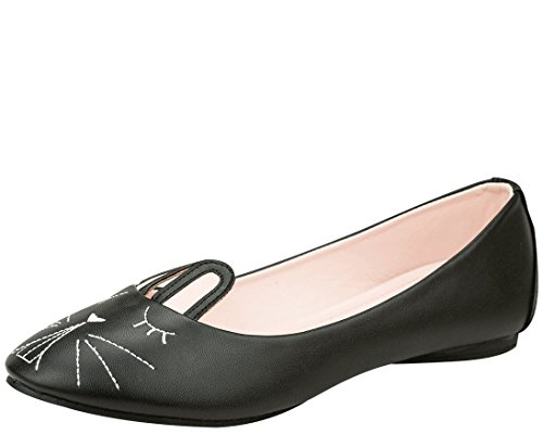 T.U.K. Shoes Womens Black Foo Foo Bunny Ballet Flat EU37 / UKW4