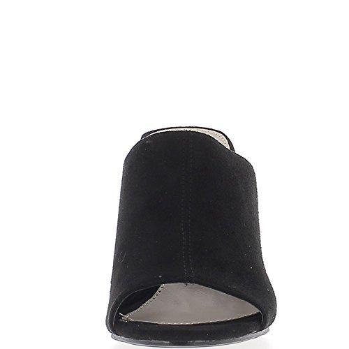 Sabots noirs à talons fins de 10 cm look daim