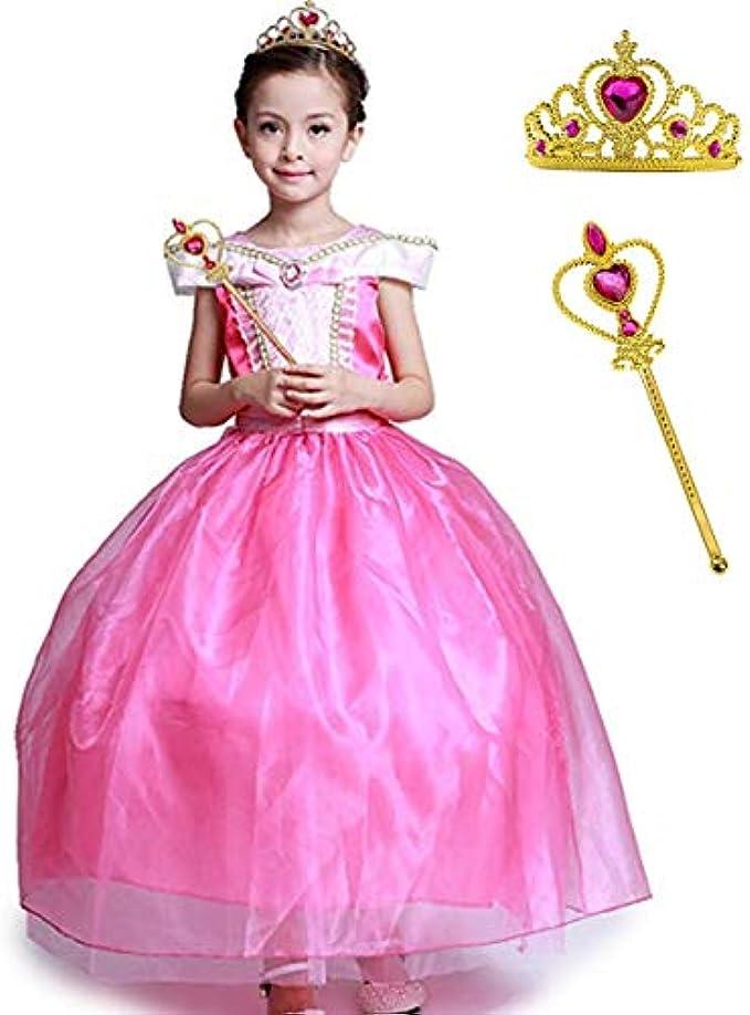Girls' Princess Cosplay Ball Gown Long Dress Pink