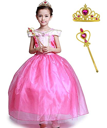Girls' Princess Aurora Costume Classical Stunning Sleeping Beauty Fancy Cosplay Ball Gown Long Dress -