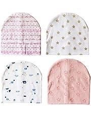 Fascigirl 4PCS Baby Head Cap Soft Dual Layer Newborn Hat Baby Beanie Hat Toddler Cap