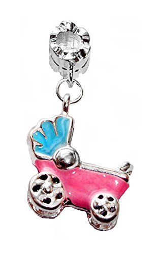 Pink Blue Enamel New Baby Carriage Dangle Bead Gift for European Charm Bracelets Crafting Key Chain Bracelet Necklace Jewelry Accessories Pendants
