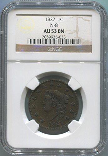 1827 P Coronet Cent AU53 Brown NGC