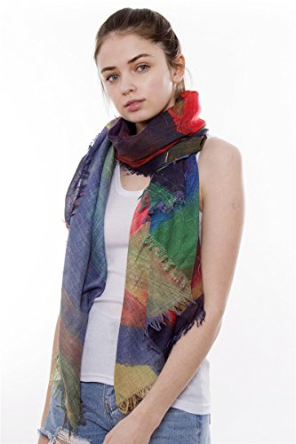 Abstract Print Oblong Scarf with Short Fringes - Fuchsia
