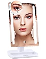 BESTOPE 24 LED Makeup Vanity Mirror with Lights, 12 inch Large Screen with Detachable 10X Magnifying Mirror, Dimmable, 180° Rotation, Dual Power Supply, High Definition LED Mirror