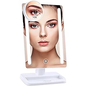 BESTOPE 24 LED Makeup Mirror 12 inch Larger Vanity Mirror, Detachable 10X Magnifying Mirror,Touch Screen,Dimmable Light,180° Adjustable Rotation,Battery and USB Powered