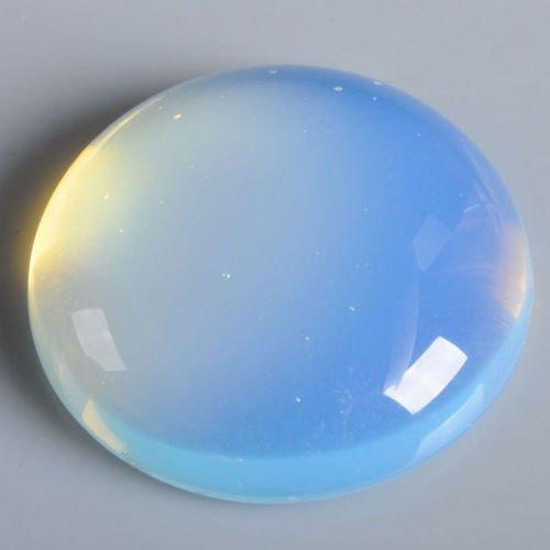 30 x 30mm Large Round Cabochon CAB Flatback Semi-Precious Gemstone Stone (Opalite)