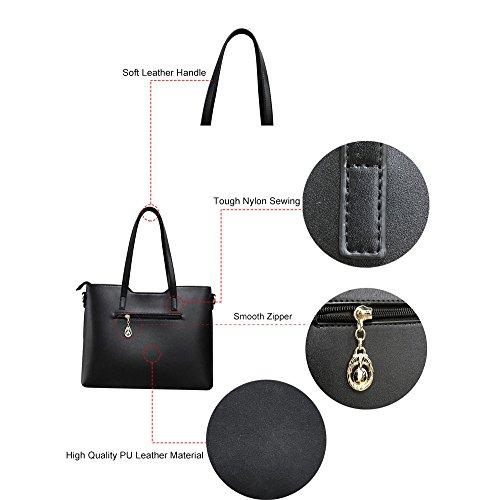 Capacity Shoulder Bag Black Large Tote Pieces Weave Leather Handbag Pu XMLZG Bag 3 Set Crossbody Purse Women's Large 7wqZafP