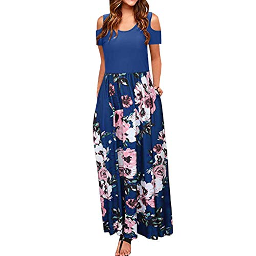 (TnaIolral Women Dresses Cold Shoulder Pocket Floral Print Elegant Maxi Short Summer Sleeve Skirt Blue)