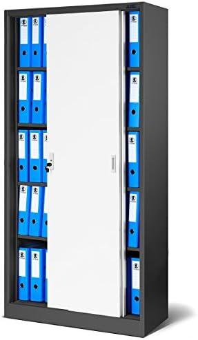 Jan Nowak by Domator24 Oficina Armario SD001, Armario con Puertas correderas, se Puede Cerrar, Elección de Colores, 185 cm x 90 cm x 40 cm (H x B x T) (Antracita de