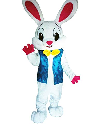 (Deluxe Plush Adult Bunny Mascot Costume Easter Bunny Costume Bunny Fancy Dress (Medium) White)