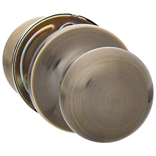 AmazonBasics Passage Door Knob, Round, Antique Brass