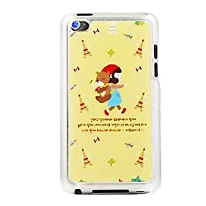 DUR Little Red Riding Hood Girl and The Bear Leather Vein Pattern PC Hard Case for iPod touch 4