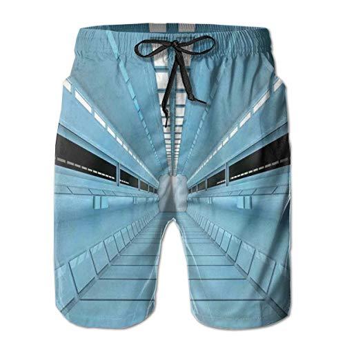 Men Swim Trunks Beach Shorts,Science Fiction Hole in Spaceship Shuttle Interior Futuristic Arrival L