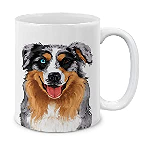 MUGBREW Cute Merle Aussie Australian Shepherd Dog Full Portrait Ceramic Coffee Gift Mug Tea Cup, 11 OZ 3
