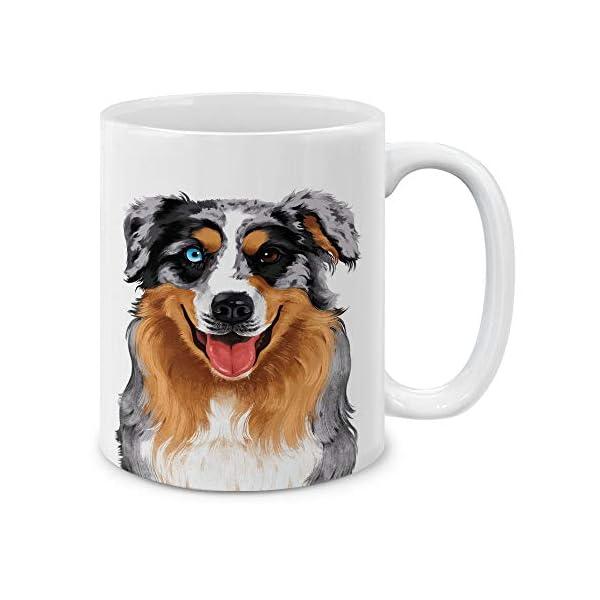 MUGBREW Cute Merle Aussie Australian Shepherd Dog Full Portrait Ceramic Coffee Gift Mug Tea Cup, 11 OZ 1