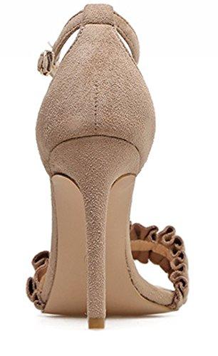 Aisun Damen Offene Zehen Faltenwurf Knöchelriemchen Stiletto Sandale mit Schnalle Aprikosenfarben
