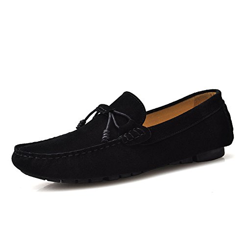 Santimon Mens Comfortable Genuine Leather Driving Shoe Moccasins Loafer Shoes Black 9Kppa