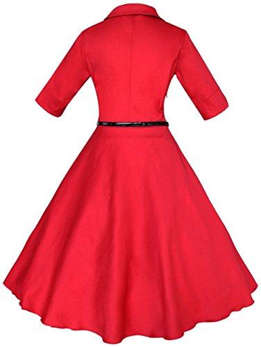 Wenseny Mujer Vestidos Clasico Vintage Corta Mangas Drapeado Fiesta Vestido de Noche Rojo