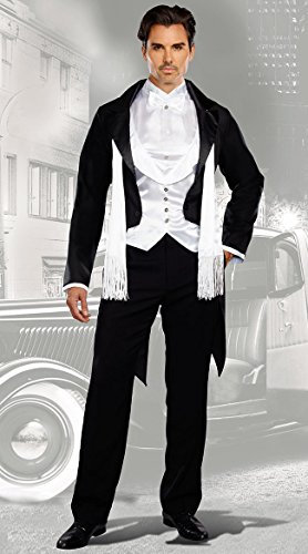 Dreamgirl Men's Party At Gatsby's Costume, Black/White, (Gatsby Mens Costumes)