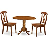 East West Furniture DLNA3-SBR-W 3-Piece Kitchen Nook Dining Table Set, Saddle brown Finish