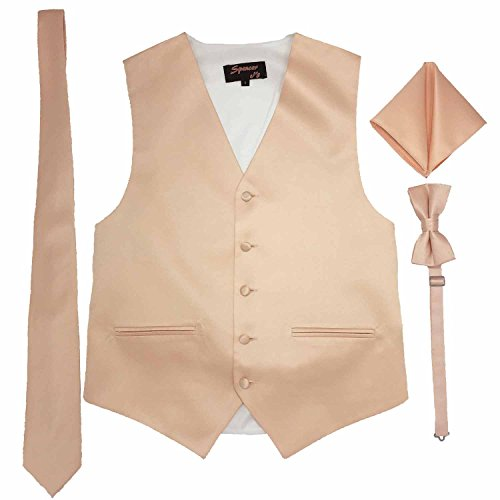 Spencer J's Men's Formal Tuxedo Suit Vest Tie Bowtie and Pocket Square 4 Piece Set Variety of Colors (M (Coat Size 38-41), Peach) (Vest Colors Tuxedo)