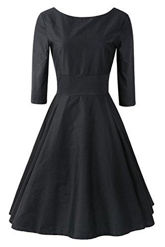 Buy black 3/4 sleeve boat neck dress - 5