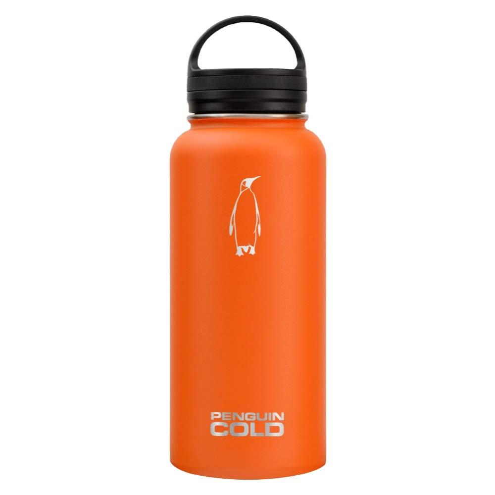 ペンギンCold断熱ステンレススチールボトル – & 40オンスBPAフリー32オンス広口ウォーターボトルブラックハンドル蓋 B0716FQQRF 40 oz. Orange / Red Orange / Red 40 oz.
