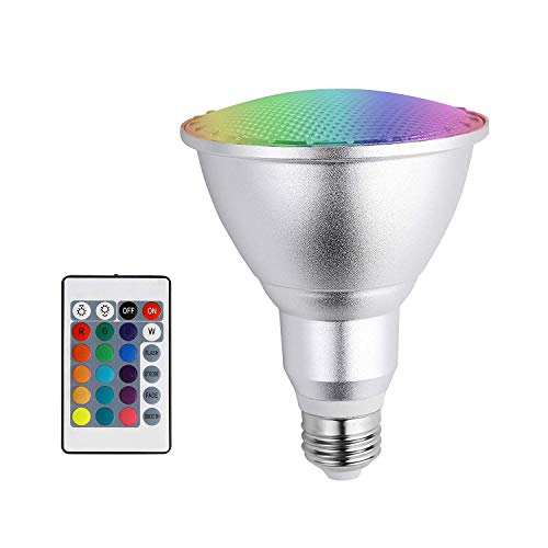 Led Light Bulb E26 10W PAR30 RGB Dimmable Spotlight 16 Color Changing with IR Remote Control for Home, Living Room, Party Decoration Waterproof Outdoor Indoor Floodlight (10W PAR30 RGB) ()