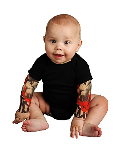 Tottude Baby Boys' Tribal Tiger Tattoo Sleeve Bodysuit Newborn Black