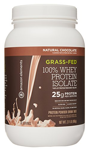 Amazon Brand - Amazon Elements Grass-Fed 100% Whey Protein Isolate Powder, Natural Chocolate, 2lbs