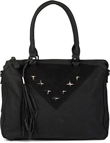 styleBREAKER sac à main shopper avec étoile découpée et pompon, sac à bandoulière, sac à main, femme 02012180, couleur:Gris foncé Noir