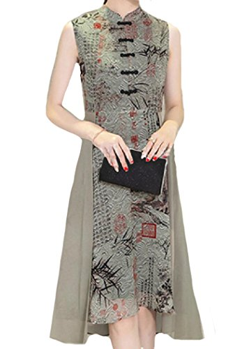 Chinese Elegant Light Coolred Sleeveless Chiffon Qipao Tuxedo Dress Women Green wEwRqgPX