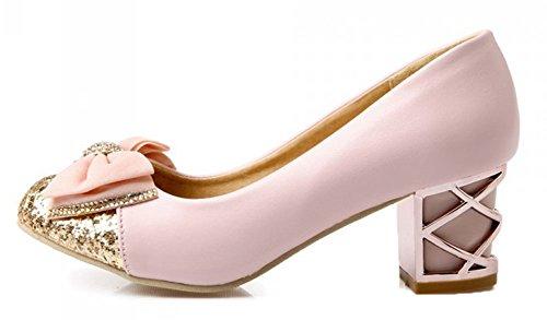 Aisun Womens Fashion Söta Paljetter Rund Tå Klänning Slip På Hälarna Blockerar Mitten Krängt Loafers Pumpar Skor Med Rosetter Rosa