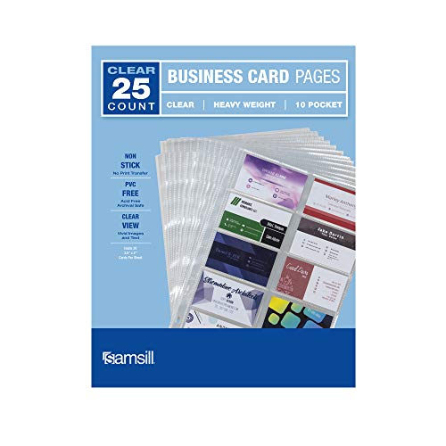 Samsill 25 Heavyweight Business Card Sleeves, Double Sided to Hold 20-3.5 x 2 Inch Business Cards Per Page, Acid Free/Archival Safe, 25 Sheets Per Pack