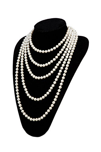 1920s Pearls Necklace Gatsby Accessories Vintage Costume Jewelry Faux Ivory  Pearl Cream Long Necklace for Women (1A-White-1)