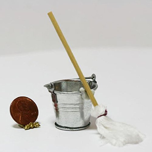Dollhouse Miniature Large Silver Bucket or Pail w/Handle and a Mop