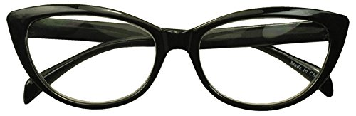 62mm Round Pointed Cat Eye Rx Prescription Magnifying Reading Readers Glasses for Women (Black, +3.00)