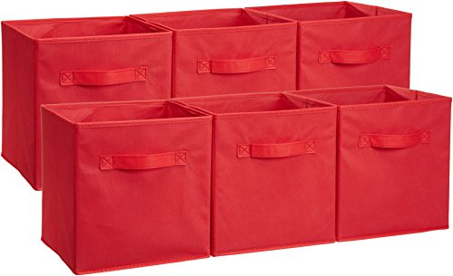 AmazonBasics Foldable Storage Bins Cubes Organizer, 6-Pack, Red