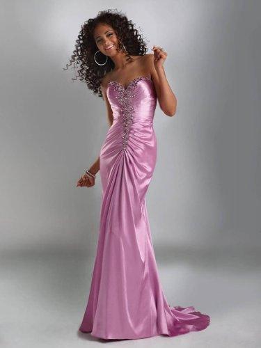 Ballkleid Ausschnitt Perlstickerei Rosa Abendkleid BRIDE Herz lange GEORGE schlanke qSAHxYW