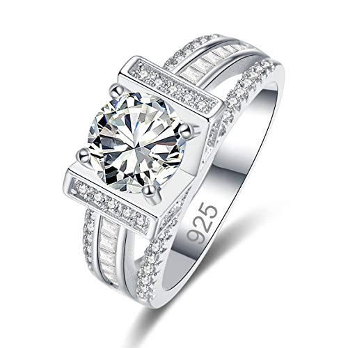 - Narica Women's 925 Sterling Silver Filled Round Cut White Topaz Engagement Wedding Rings Size 7