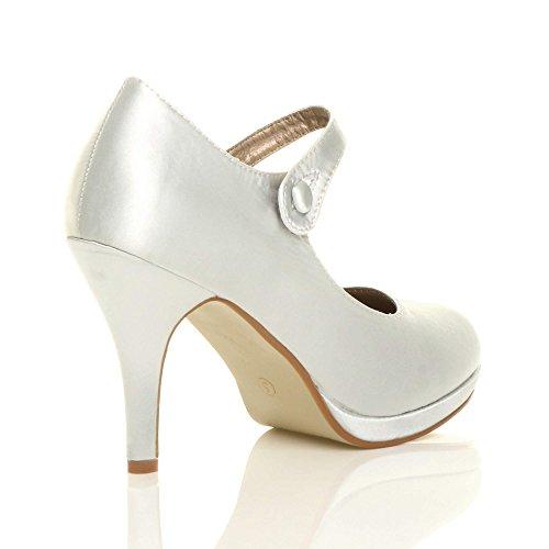 Damen Satin Jane Größe Riemen Pumps Schuhe Mary Absatz Silber Elegant Mittel Abend Hoher UqZwUrpa