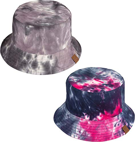 - H-219-2-TD2124 Bucket Hat 2-Pack: Grey & Hot Pink (Tie Dye/Reversible)