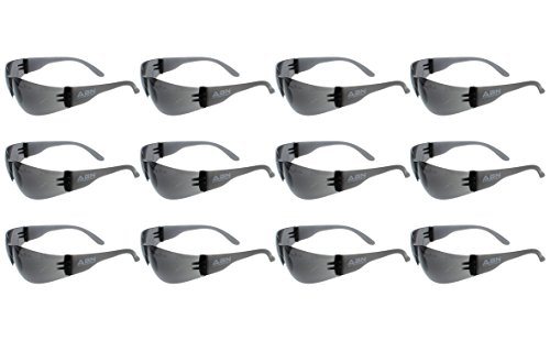 ABN Safety Glasses Protective Eyewear 12-Pack in Gray Smoke Shade – UV Protective ANSI Standard Lens Protective Glasses