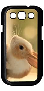 Rabbit Lovely HD image case for Samsung Galaxy S3 I9300 black + Card Sticker